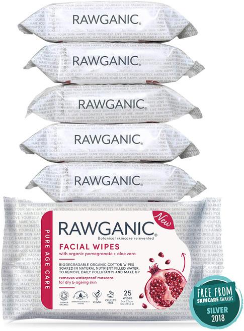 RAWGANIC Anti-aging Facial Wipes 6 Packs 150 wipes in total