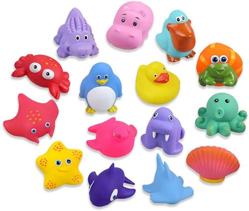 Lictin Soft Rubber Ocean Animals Baby Bath Squirters Toys - 15 Pcs