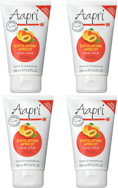 4 x Aapri Exfoliating Apricot Face Facial Scrub Cream-150ml
