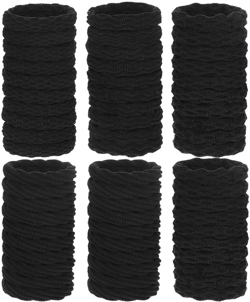 Black Color Seamless Thick Cotton Stretchable Hair Tie - 60 Pieces