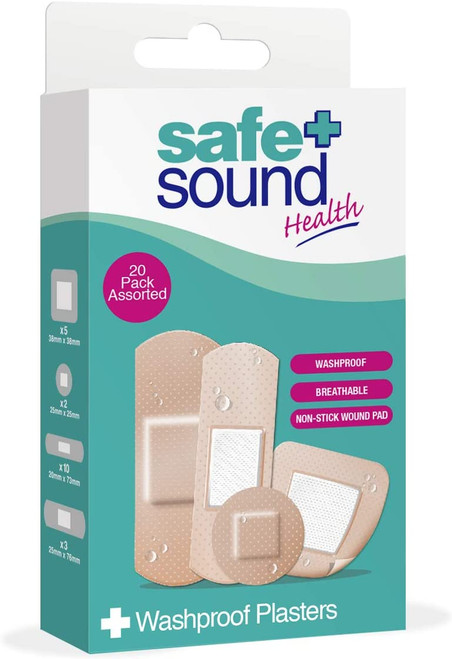 Safe and Sound Assorted Washproof Plasters - 20 Pcs