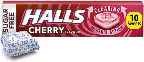 Halls Sugar Free Cherry Flavour Menthol Action Sweets - 10 Pcs