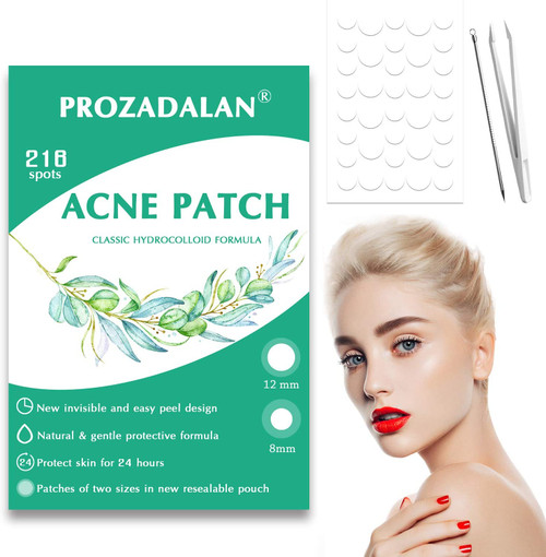 Acne Patches 216pcs Invisible Hydrocolloid Acne Pimple Patches-12mm