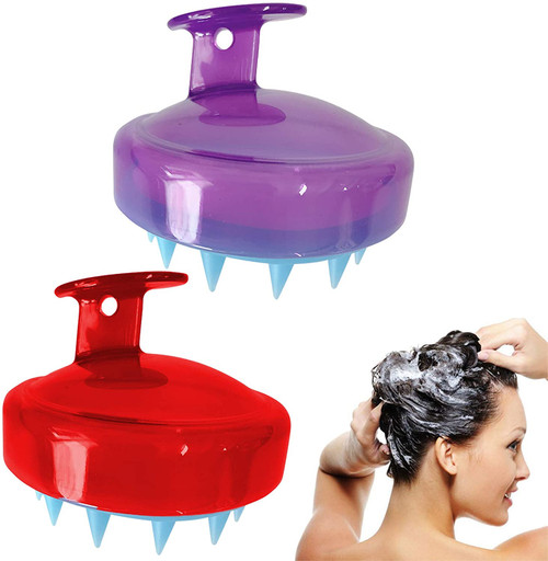 2 Pack Hair Scalp Massager Shampoo Brush-Red purple
