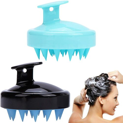 2 Pack Hair Scalp Massager Shampoo Brush-Blue Black