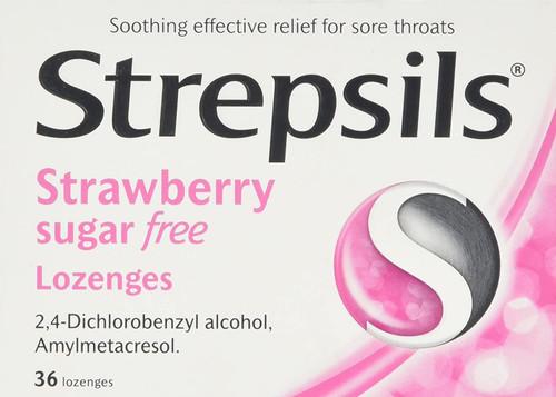 Strepsils Soothing Sore Throat Strawberry Sugar-Free Lozenges - 36 Pcs