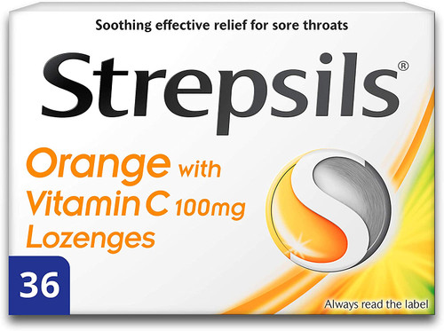Strepsils Soothing Sore Throat Orange with Vitamin C Lozenges - 36 Pcs