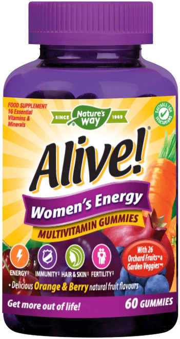 Alive Women Orange and Berry Flavour Energy Multivitamin Gummies - 60 Pcs