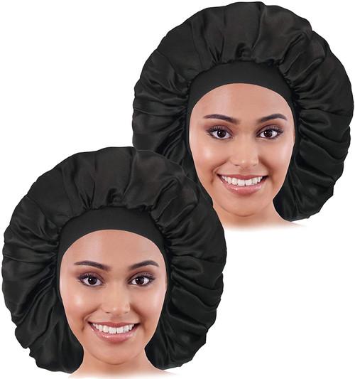 2PCS Large Satin Bonnet sleep cap-Black