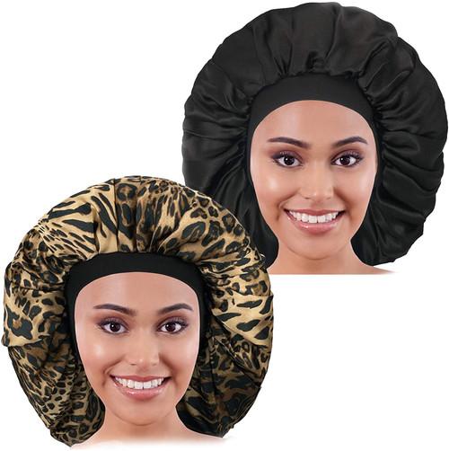 2PCS Large Satin Bonnet sleep cap-Leopard And Black