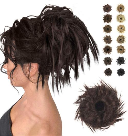 Messy Hair Bun for Women-Dark Brown to Black