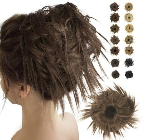 Messy Hair Bun for Women-Medium Chestnut Brown