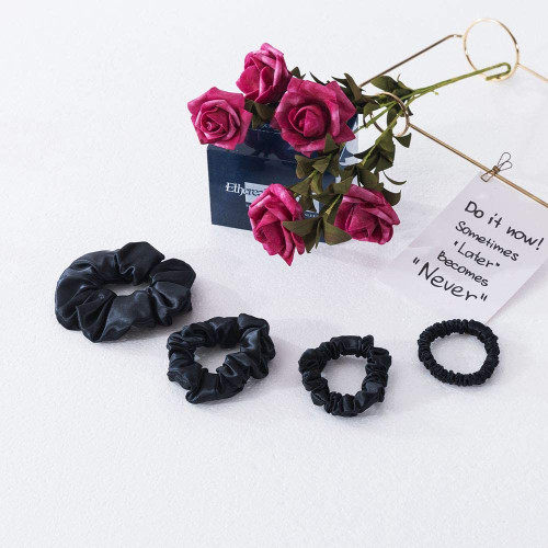 Ethlomoer Silk Hair Scrunchies Set-4 Sizes Black