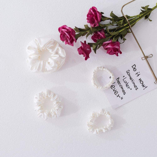 Ethlomoer Silk Hair Scrunchies Set-4 Sizes White