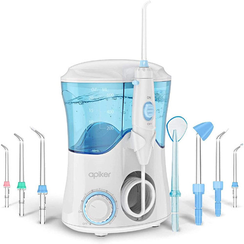 Apiker Professional Water Dental Flosser with 8 Multifunctional Tips - White