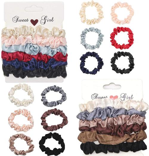 12Pcs Silk Hair Scrunchies