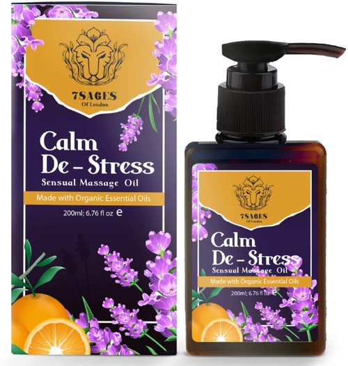 7Sages Calm De Stress Divine Fragrance Sensual Massage Oil for Aches - 200ml