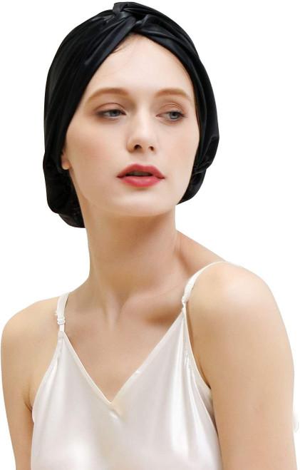 ZIMASILK Mulberry Silk Sleep Cap for Women-Black