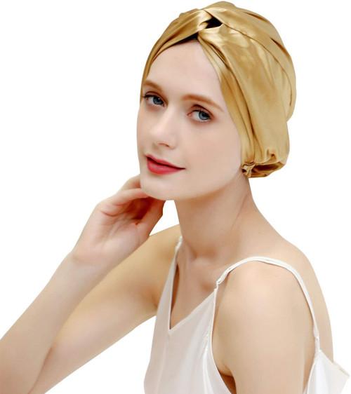 ZIMASILK Mulberry Silk Sleep Cap for Women-Golden