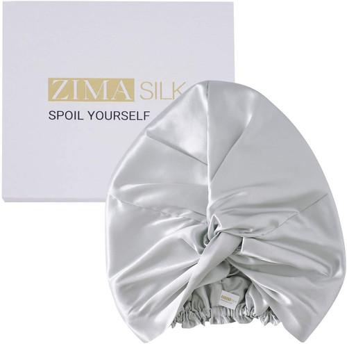 ZIMASILK Mulberry Silk Sleep Cap for Women-Light Grey