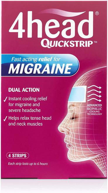 4HEAD Fast Acting Migraine Hydro Gel Strips - 4 Strips