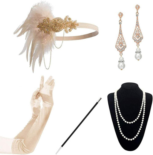 1920s Accessories champagne-a-5pcs Set for Women