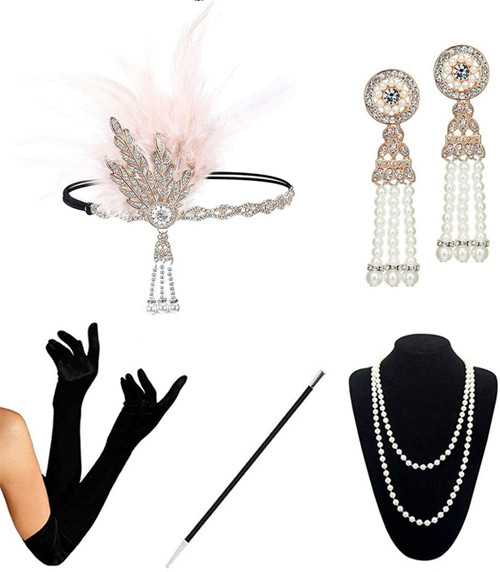 1920s Accessories champagne-c-5pcs Set for Women