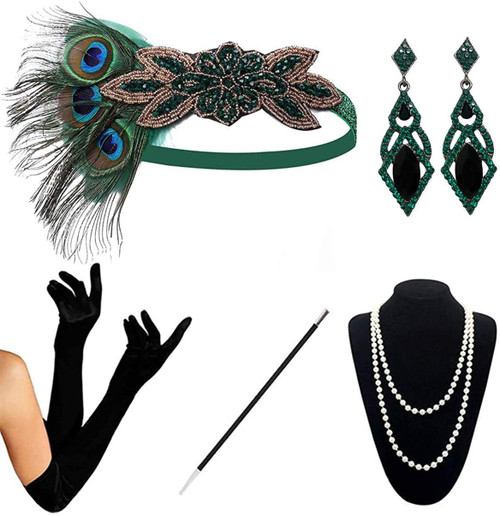 1920s Accessories green-c-5pcs Set for Women