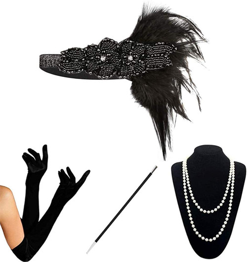 1920s Accessories black-a-4pcs Set for Women