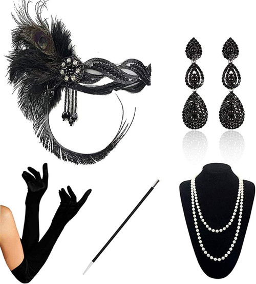 1920s Accessories black-b-5pcs Set for Women