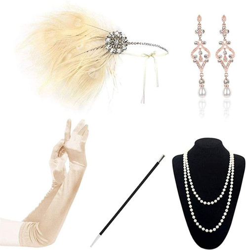 1920s Accessories champagne-b-5pcs Set for Women