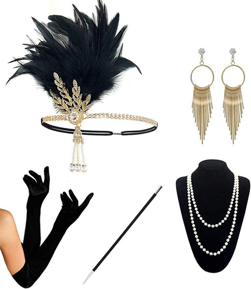 1920s Accessories gold-5pcs Set for Women