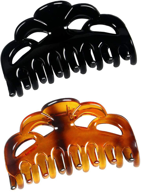 ACCGLORY Large Plastic Hair Clips Arc-Black+Brownish Red-M