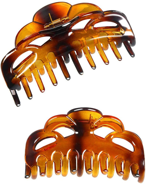 ACCGLORY Large Plastic Hair Clips Arc-Brownish Red