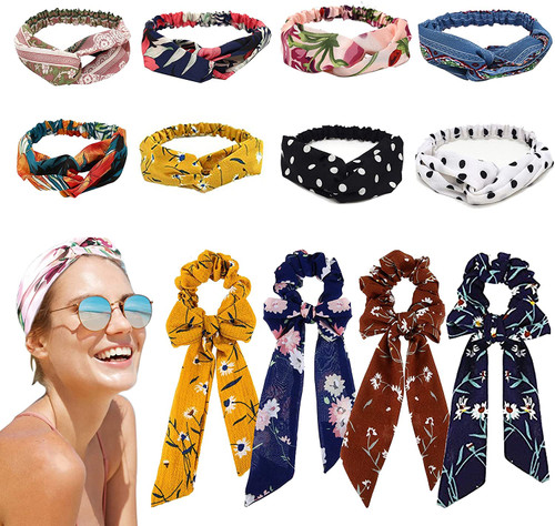 Chiffon Bowknot Headband and scrunchies 12 Piece