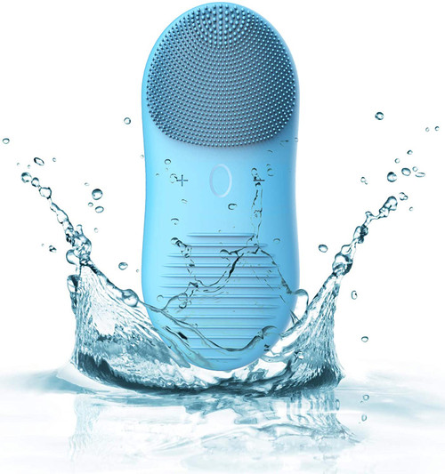 Sonic IPX7 Waterproof Electric Silicone Facial Massager Brush - Blue