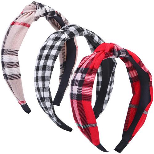 Tupa Women's Wide Plain Headbands Mixed Color E-3 Pack