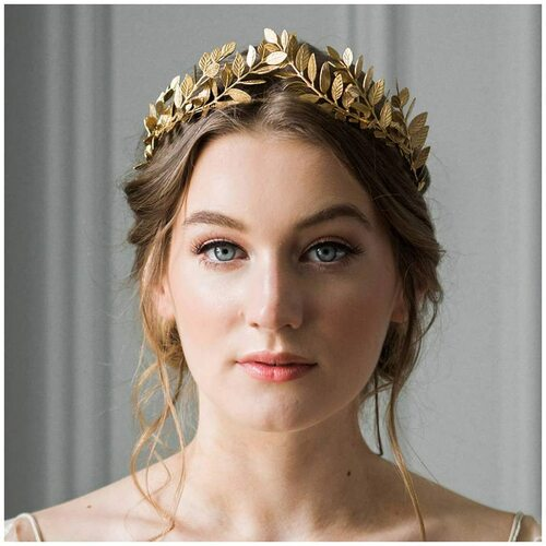 Anglacesmade Bridal Leaf Vine Headband Gold Leaf Crown