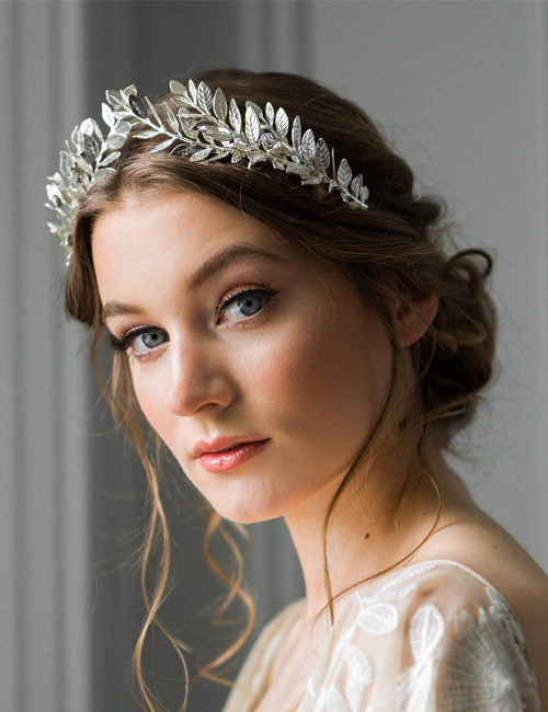 Anglacesmade Bridal Leaf Vine Headband Silver Leaf Crown