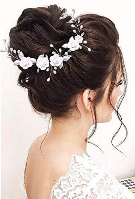 Zoestar Flower Wedding Hair Vine Silver Pearls Beaded Headbands