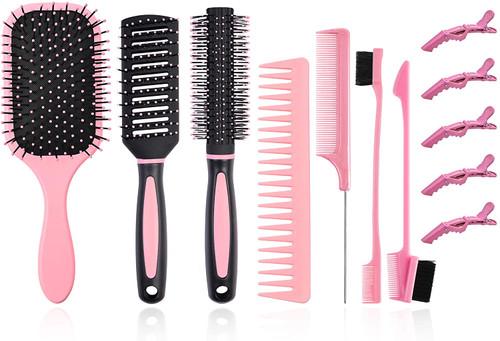 12Pcs Hair Brushes Set for Women-Pink