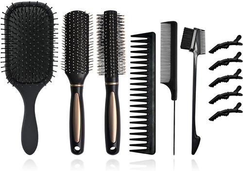 12Pcs Hair Brushes Set for Women-Black