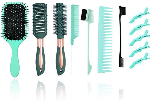 12Pcs Hair Brushes Set for Women-Green