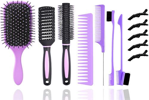 12Pcs Hair Brushes Set for Women-Purple