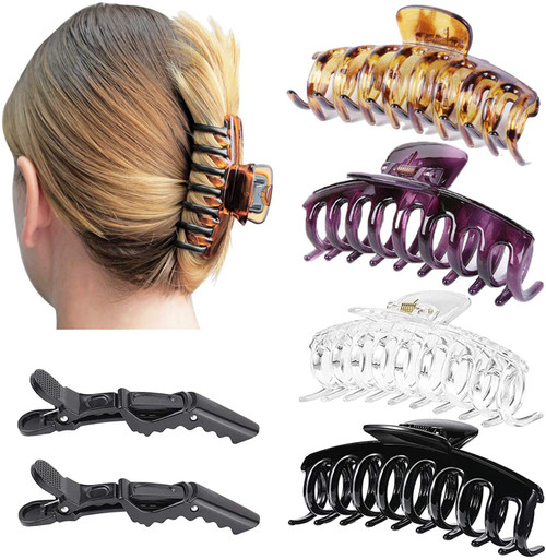 Resin Hair Claw Clips 2PCS and Black Hair Rope 5PCS