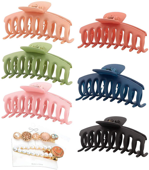 Resin Hair Claw Clips 2PCS and Black Hair Rope 5PCS Color B