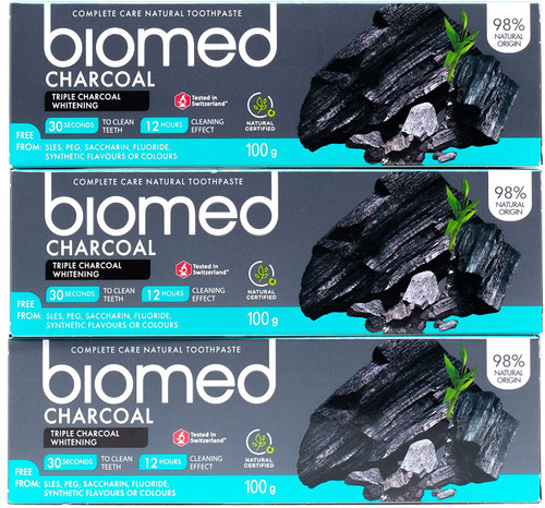Biomed Triple Whitening Charcoal Toothpaste - Pack of 3