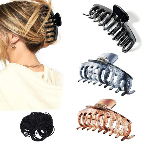 Hair Large Claw Clip 3PCS and Rubber Rings 20PCS