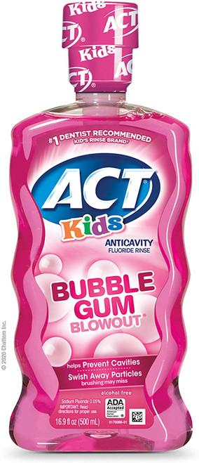 ACT Kids Bubblegum Blowout Fluoride Mouthwash - 500ml