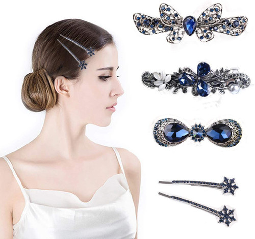 Hair Clips Retro Vintage French Silver Crystal Barrette 5 PCS